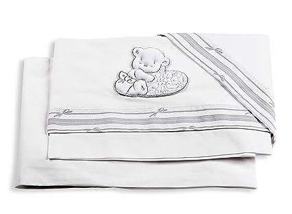 Italbaby Love bordado juego de sábanas para cochecito, color blanco, 3 piezas