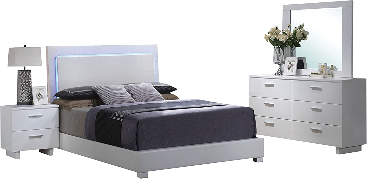 Acme Furniture Lorimar Queen Bed 4-Piece Bedroom Set with LED Headboard, White PU