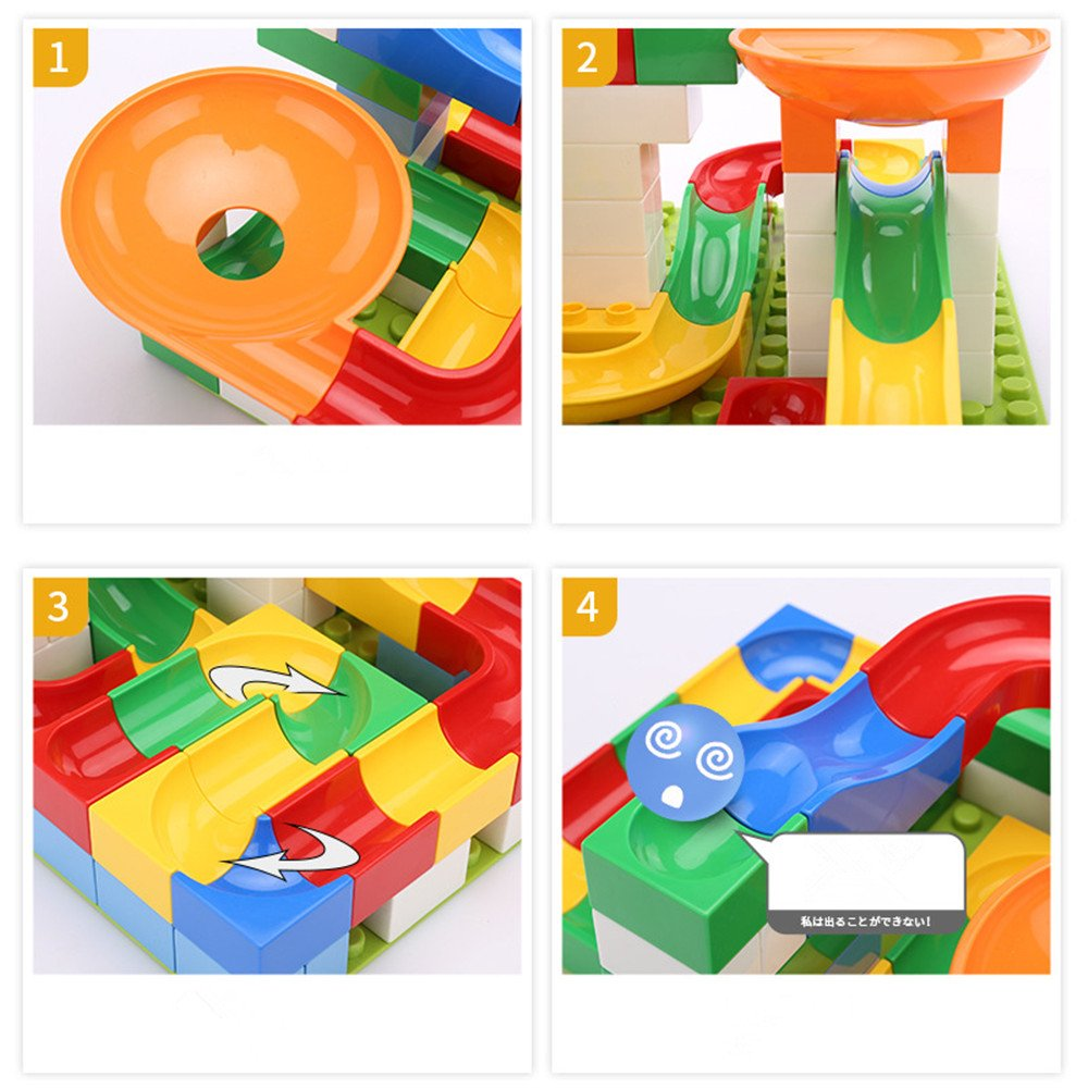 54 PCS Crazy Ball Marble Run Set - Marble Run Building Blocks Construction Toys Set Puzzle Race Track for Kids hengtonghuan