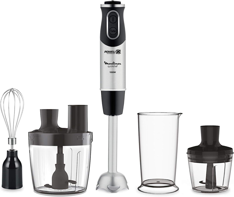 Moulinex Quickchef DD65J8 Batidora de mano con 4 accesorios, 1000 W, 10 velocidades, procesador de alimentos, picadora, varillas, vaso medidor y pie metálico, cuchillas de acero robustas: Amazon.es: Hogar