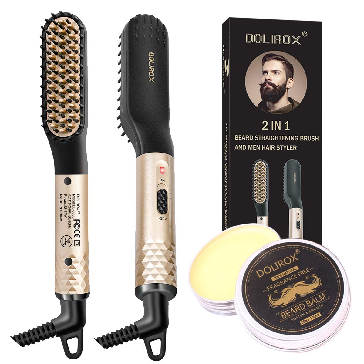 Amazon Com Beard Straightener Heated Beard Comb Electric Straightening Comb With Beard Balm And Beard Straightening Brush Hair Straightening Comb Gifts For Dad Him Men Beauty