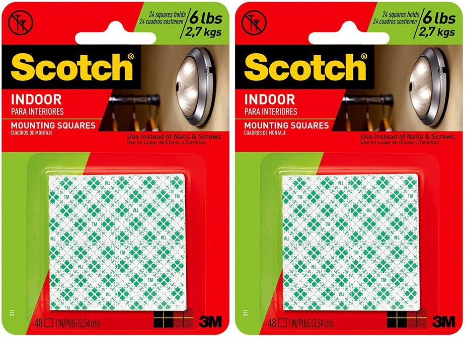 3M Scotch 311DC Heavy Duty 1-Inch Mounting Squares, 48 Squares (2 Sets)