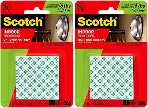 3M Scotch Heavy Duty 1-Inch Mounting Squares 48-Pack Mounting Pictures