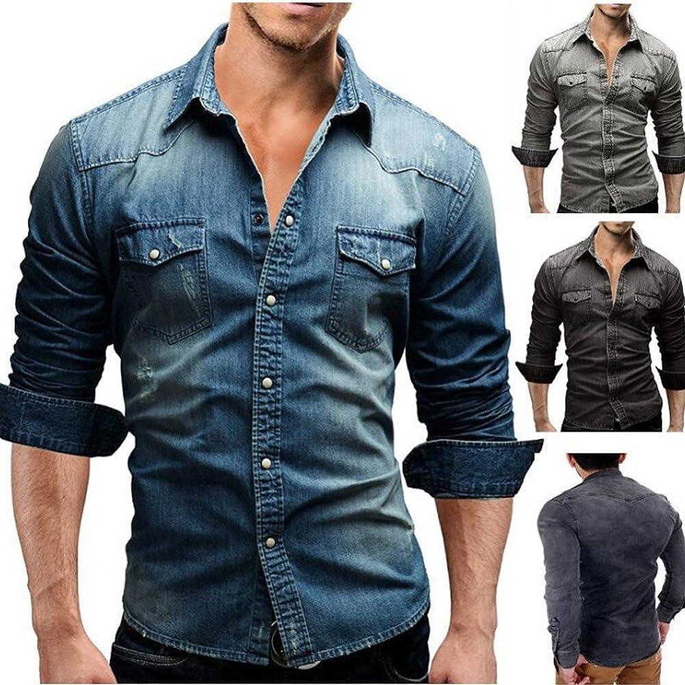 Minetom Hombre Camisas De Vestido Formal Moda Manga Larga Apta Delgada con Estilo Azul Azul EU XS: Amazon.es: Ropa y accesorios