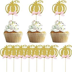 36 PCS Pumpkin Cupcake Topper Fall Theme Cake Decoration for Pumpkin Themed Baby Shower Party Supplies, Pumpkin Food Pick