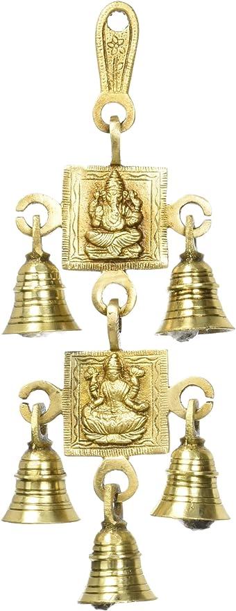 Amazon Com 5 Bells Brass Hanging Hindu God Ganesha And Goddess Laxmi Ji Statue Engraved For Luck Home Temple Use Home Kitchen