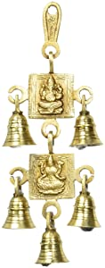 5 Bells Brass Hanging Hindu God Ganesha and Goddess Laxmi Ji Statue Engraved for Luck Home Temple Use