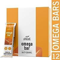 ahead® OMEGA BAR 12er Box Energieriegel mit DHA Omega-3 für die Gehirnleistung¹ – Proteinriegel mit Hafer und Whey-Protein für Alltagshelden und Athleten – Salty Caramel, 12er Pack(12x50g)