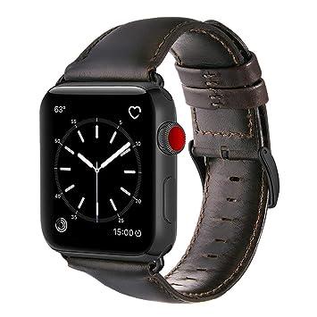 b88459b2f28 Pulseira De Couro para Apple Watch 42mm Com Adaptadores Pretos ...