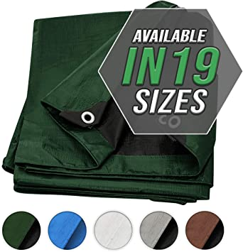 10X12, Heavy Duty by Trademark Suplies Tarp Cover Brown//Black Heavy Duty Thick Material Boat RV Or Pool Cover Great for Tarpaulin Canopy Tent Waterproof