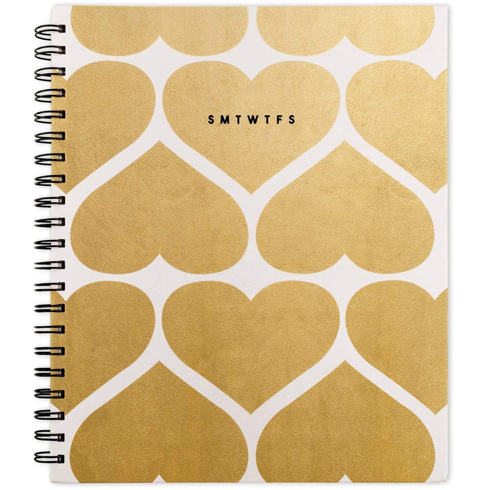 Emily + Meritt 2019-2020 Academic Year Weekly & Monthly Planner, Large, 8-1/2'' x 11'', The Graphic Foiled Hearts Planner (EM206-905A)