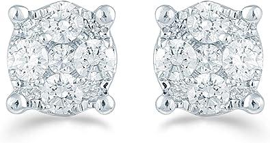 1//2 Cttw Diamond Cluster Earring Set In Sterling Silver