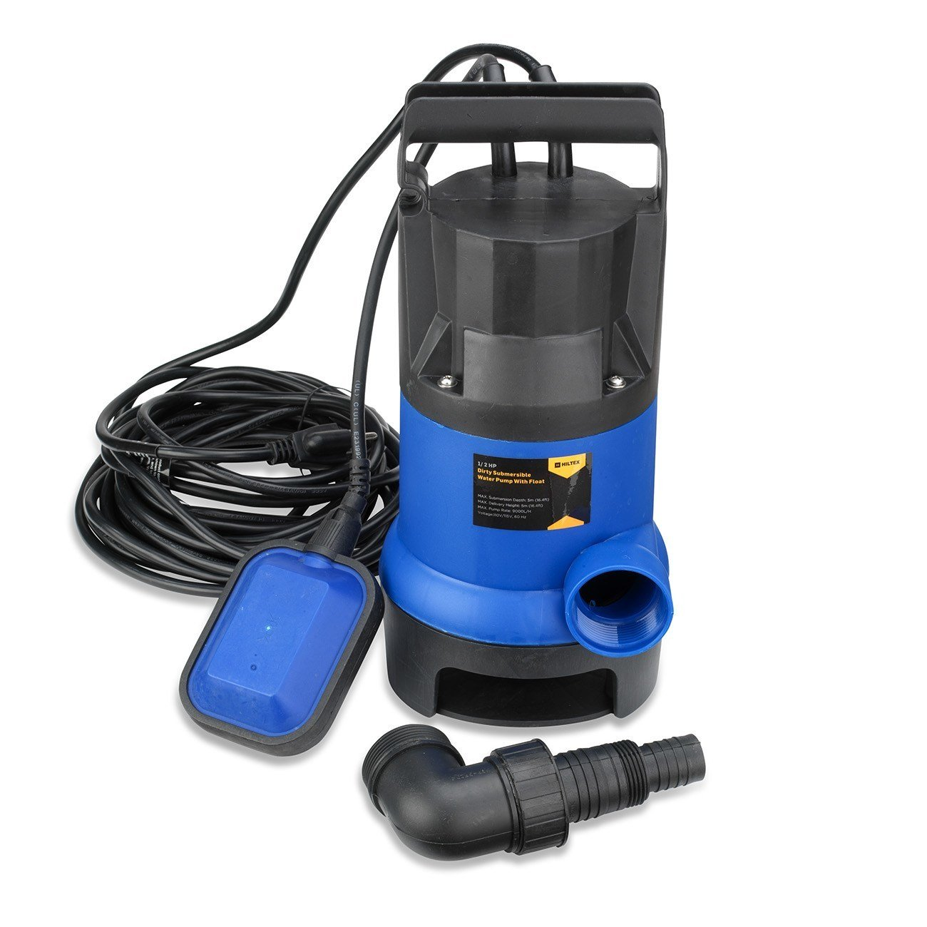 Neiko 50637 Hilltex Dirty Water Submersible Water Pump with Float Switch, 1/2 hp/16'