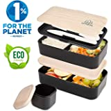 UMAMI Lunch Box Black Bamboo | 2-Compartment Hermetic Bento with 3 Piece Cutlery Set & Sauce Jar | Suitable for Adults and Children | Microwave and Dishwasher Safe | BPA Free | Designed in Paris