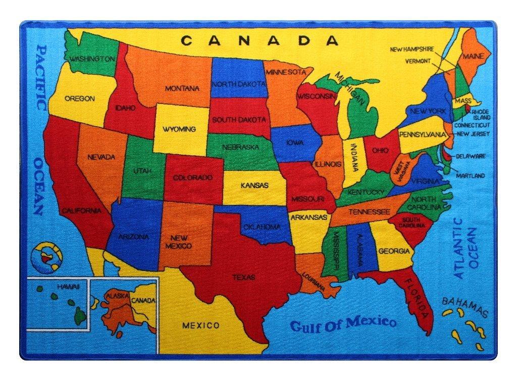 Kids Rug USA Map 3' x 5' Children Area Rug for Playroom & Nursery - Non Skid Gel Backing 39'' x 58''