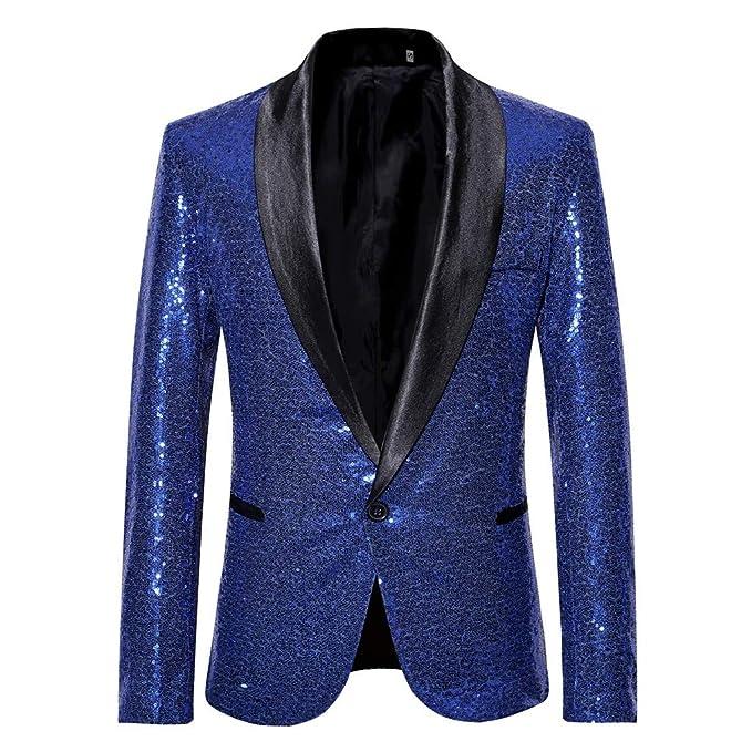 Tefamore Trajes Hombre Chaquetas Americanas Charm Casual Un Botón Fit Suit Traje Blazer Abrigo Abrigo de Fiesta de Lentejuelas Chaqueta: Amazon.es: Ropa y ...
