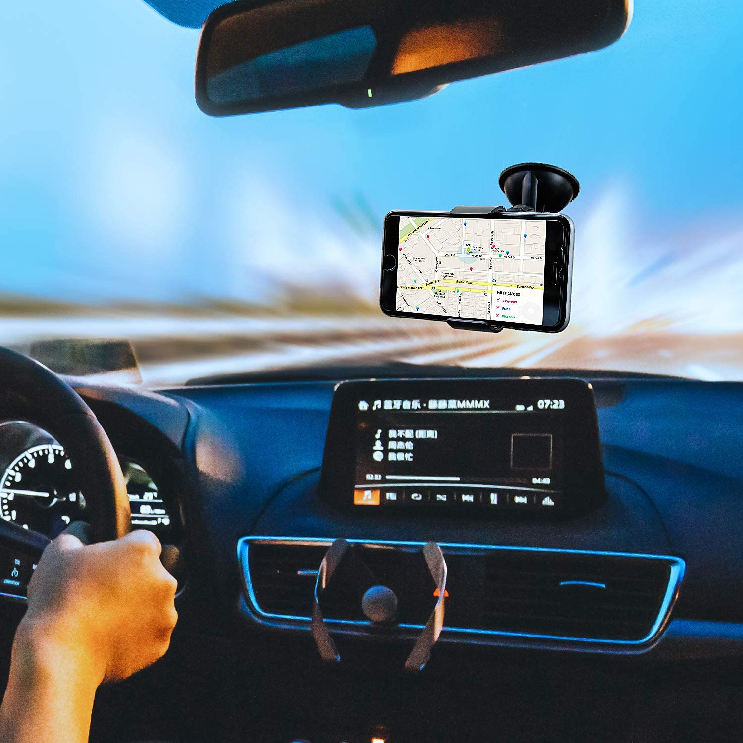 Compatible with All Smart Phones Desks Universal Pro Phone Holder and Stand Great Gift Monitors Easy Mount to Windshield Sticky Gel Pad with 360/° Rotation