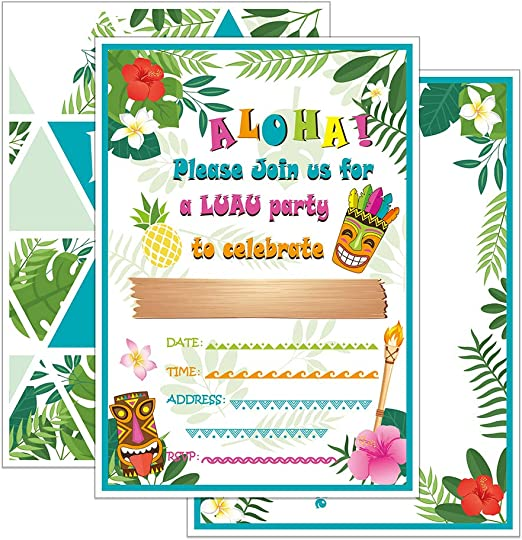 Amazon Com Wernnsai Aloha Luau Hawaiian Invitaciones De