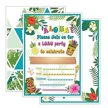 WERNNSAI Hawaii Aloha Invitaciones de Fiesta con Sobres - 20 Set Luau Tarjetas de Invitación de Cumpleaños
