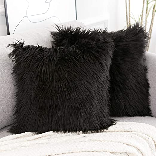 Fluffy Black Pillows in 2020 | Throw