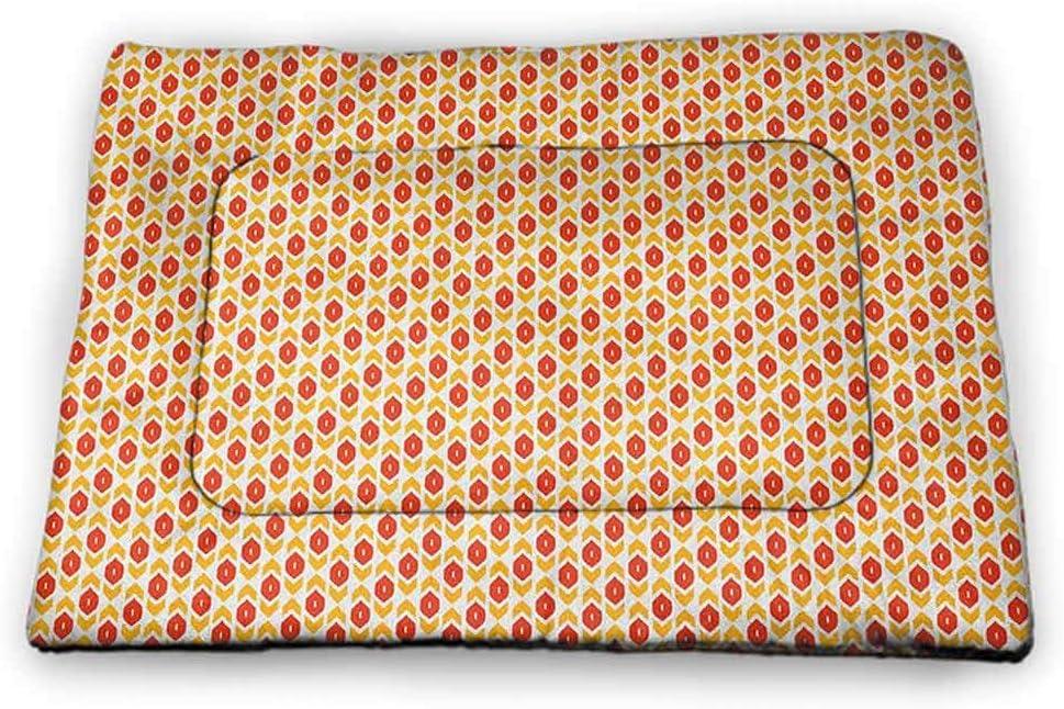 DayDayFun Ikat Pet Food Mat Square Pattern Checkered Mosaic Traditional Abstract Shapes Inspirations Pet Mat Waterproof Magenta Grey Mint