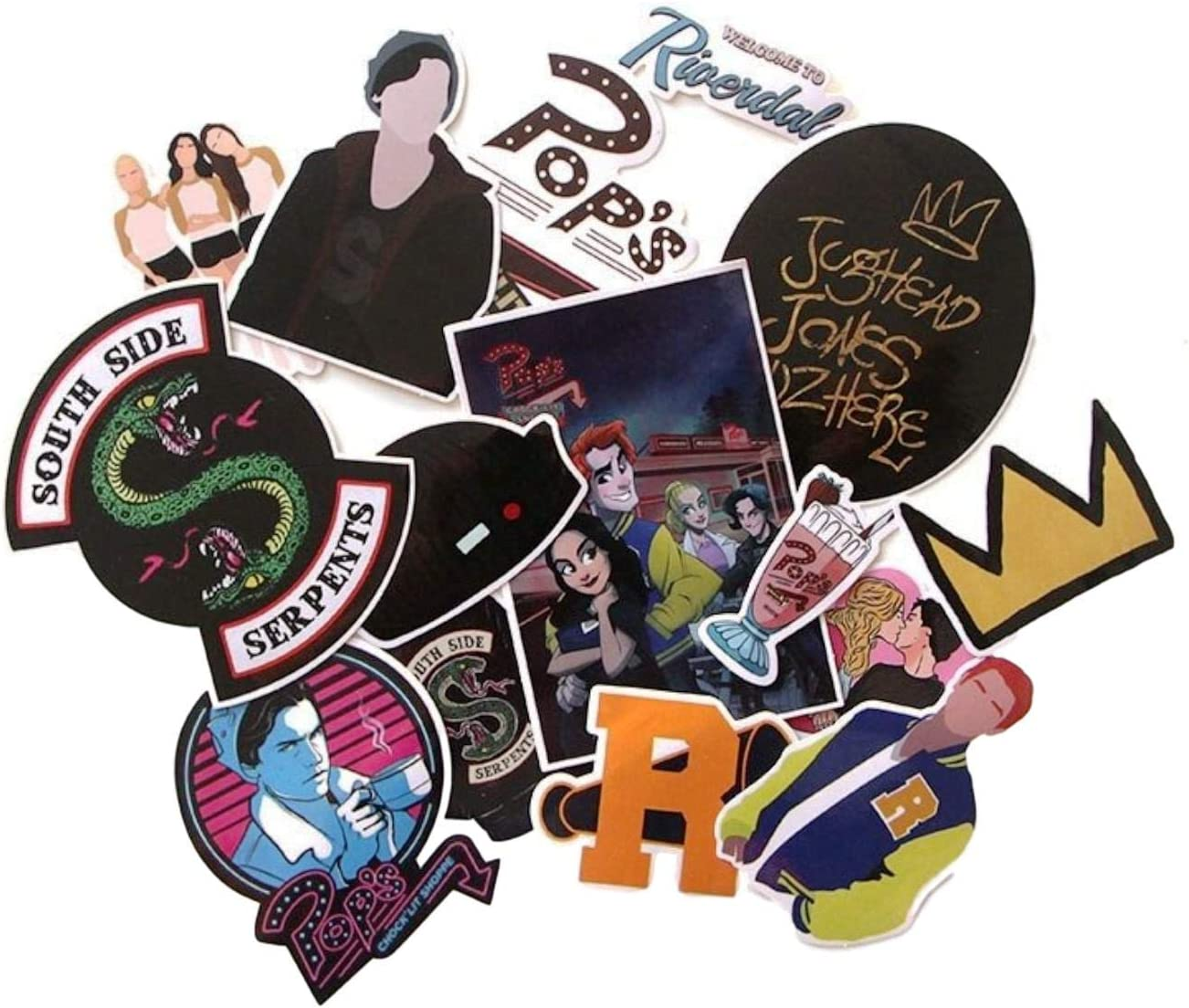 TV Show Themed Riverdale 15 Piece Serpents Sticker Decal Set for Kids Adults - Laptop Motorcycle Skateboard Decals