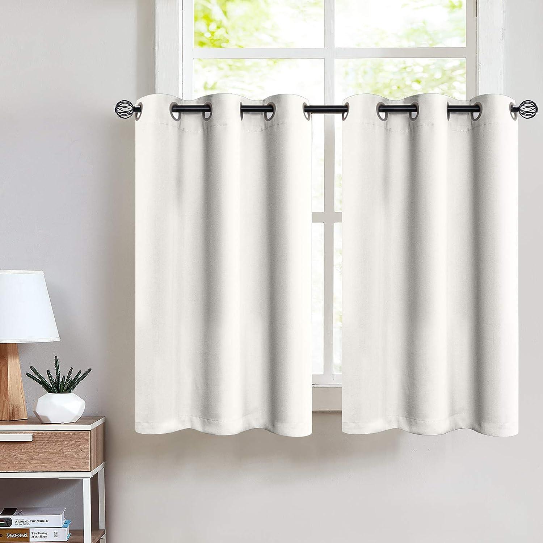 Greyish White Tier Curtains 112 inch Grommet Bathroom Window Curtain Tiers  Room Darkening Tiers Kitchen Windows Short Curtains Small Window, 12 Panels