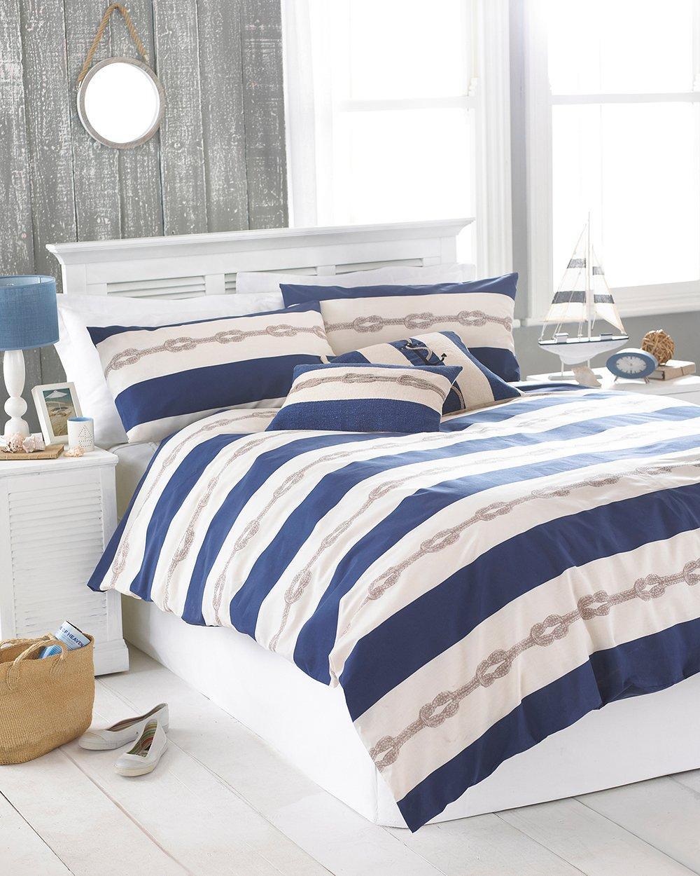 Riva Home Reef Stripe Copripiumino Singolo Blu Colore Biancheria Da Letto Com Tessili Per La Casa