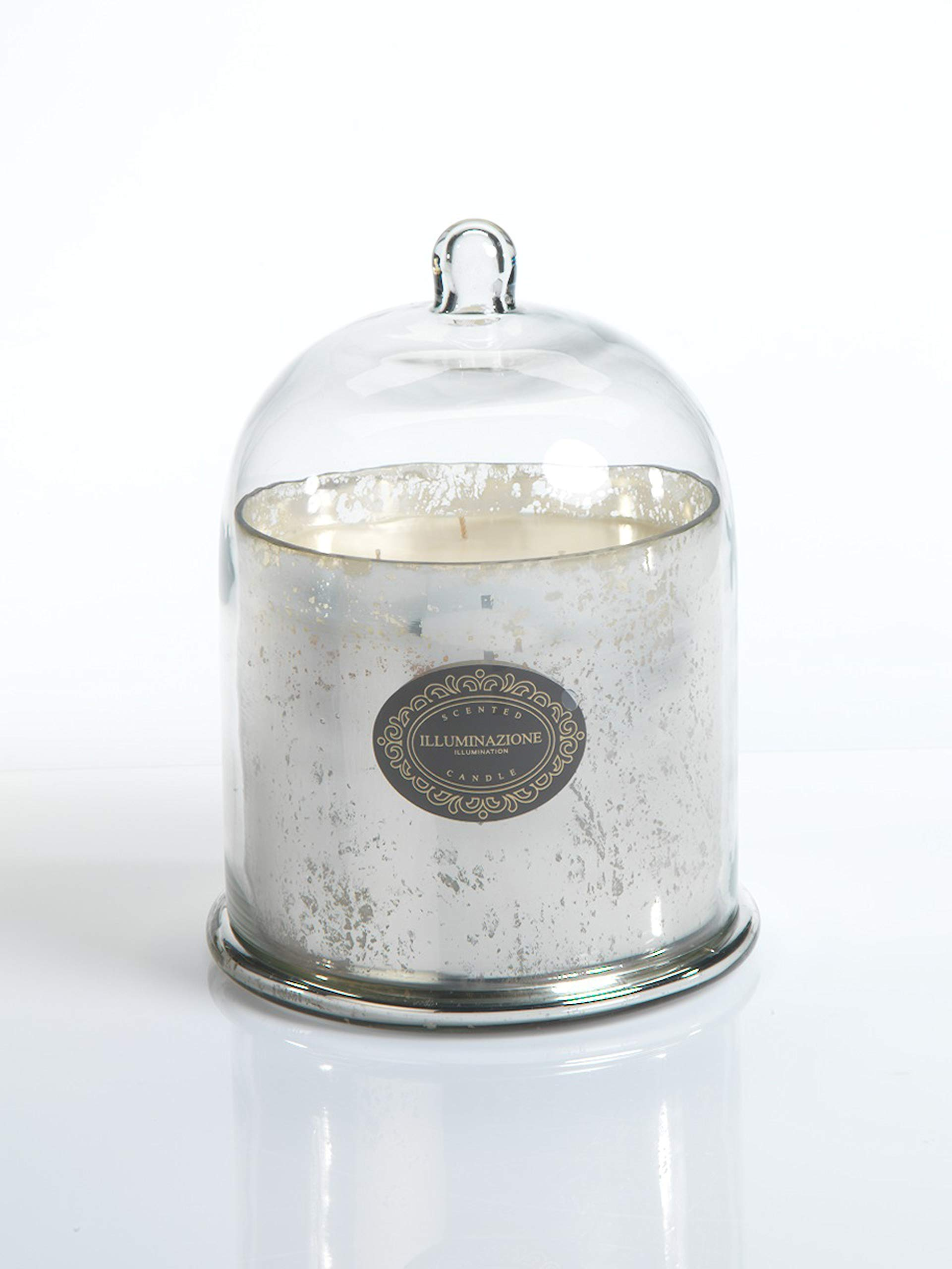 Zodax 10'' Tall Large Glass Dome, French Red Currant, Antique Silver Jar Candles