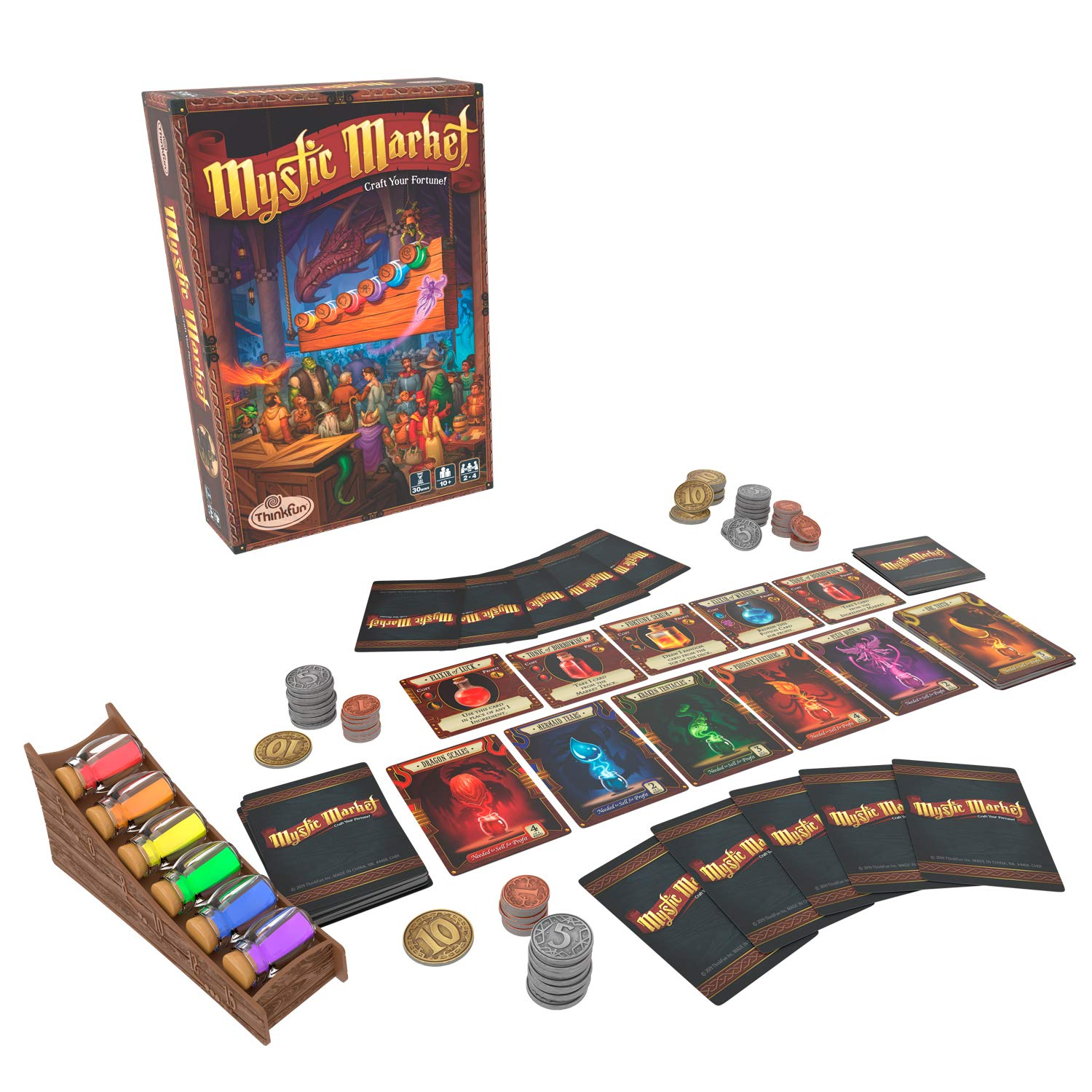 ThinkFun Mystic Market Strategy Card Game for 2-4 Players Ages 10 and Up - an Exciting Fast Paced Game Perfect for Both Families and Gamers, Multi by Think Fun