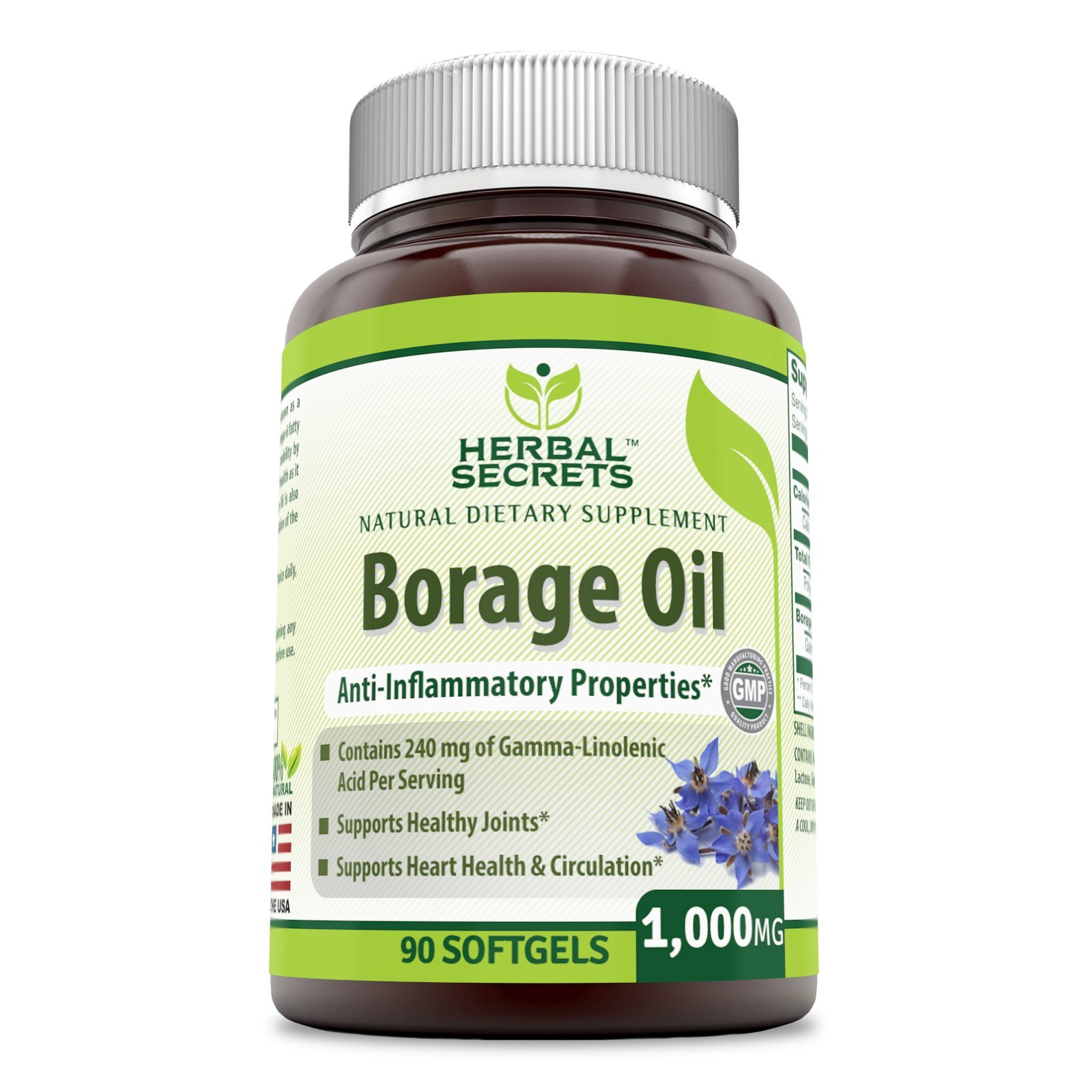 Herbal Secrets Borage Oil 1000 Mg 90 Soft Gels