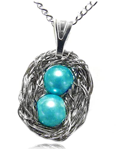Amazon necklace wire wrapped bird nest pendant with 2 blue necklace wire wrapped bird nest pendant with 2 blue pearl eggs aloadofball Choice Image
