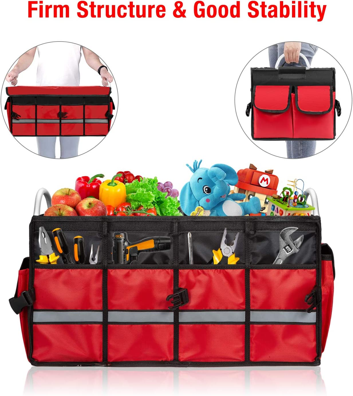 Cargo Organizer Heavy Duty Collapsible Car Storage Bag with Alloy Handle and Reflective Stripe FLAGPOWER Car Trunk Organiser with Lid