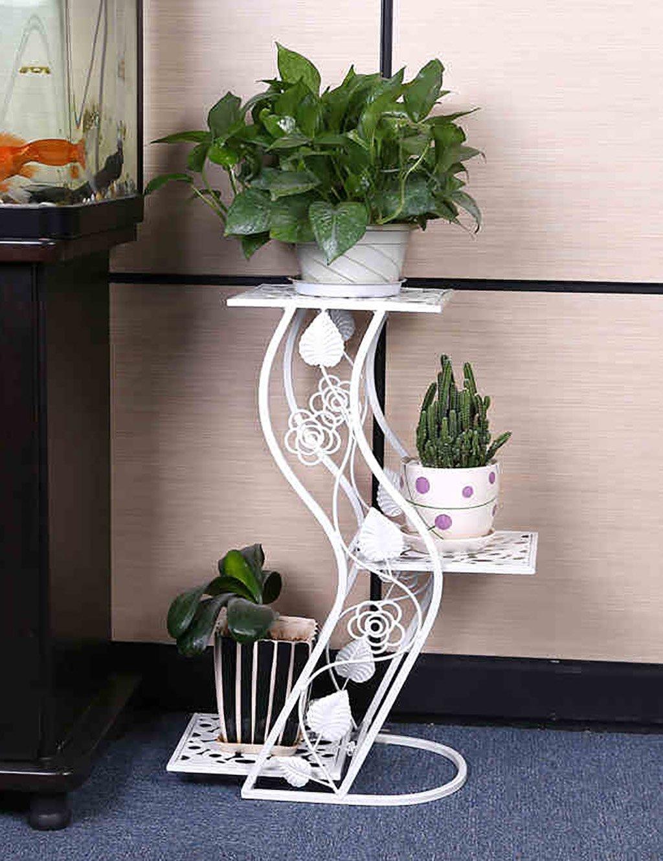Blumenregal Eisenboden dreifach faltende Blumentöpfe Regal Europäische-Stil Innen-und Außenbereich einfache Pflanze Regal ( farbe : Weiß , größe : 25.5cm*25.5cm*63cm )