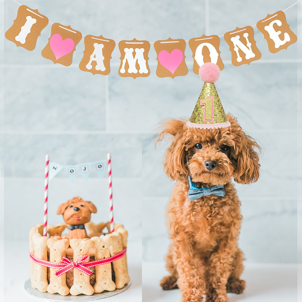 Amazon Pet Birthday Hat 1 Year Old Banner Party Decorations Funny Costume For Small Pets Dogs Cats Pink Supplies