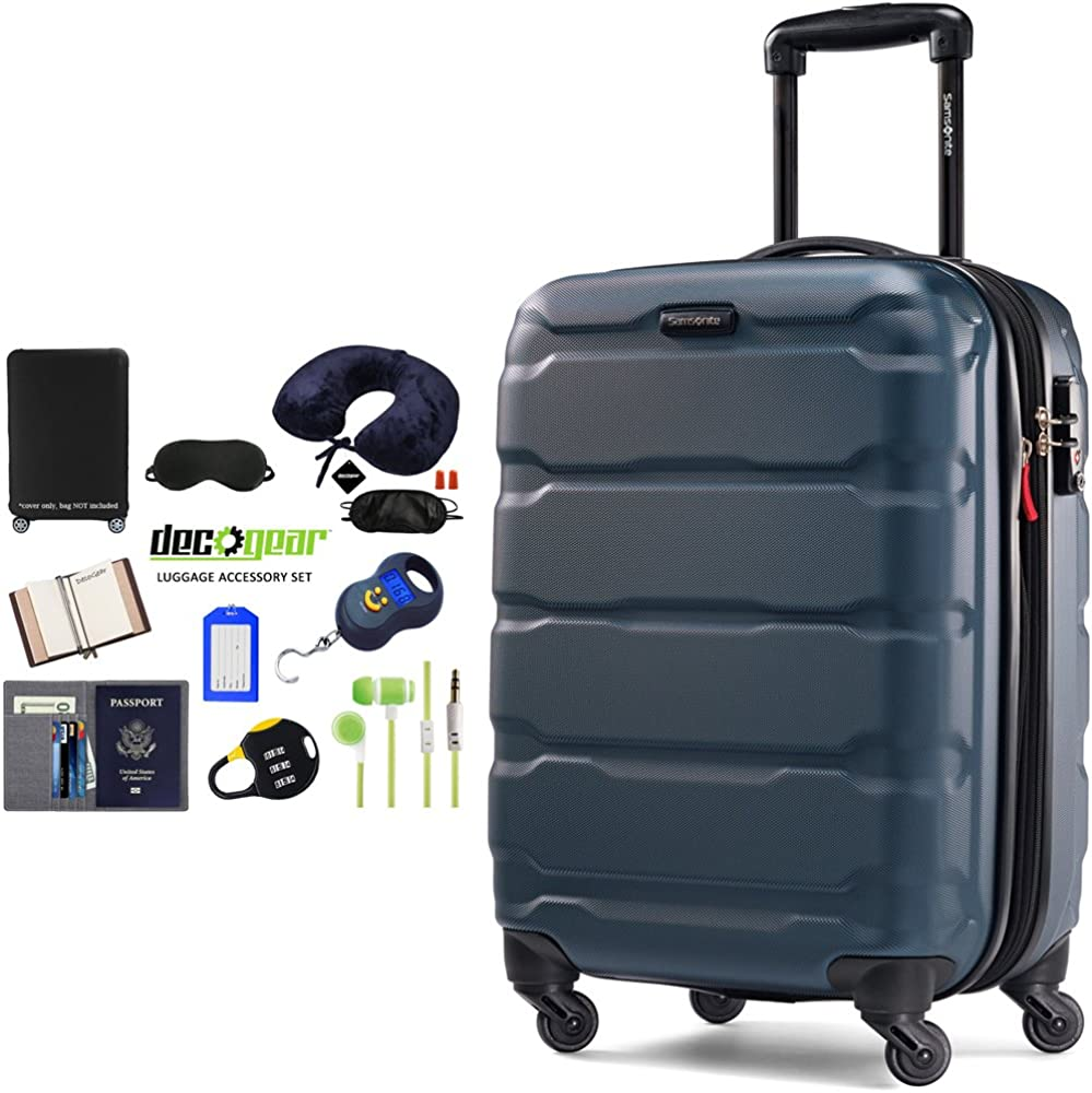 Samsonite Omni Hardside Luggage Spinner with Deco Gear Ultimate 10pc Luggage Accessory Kit