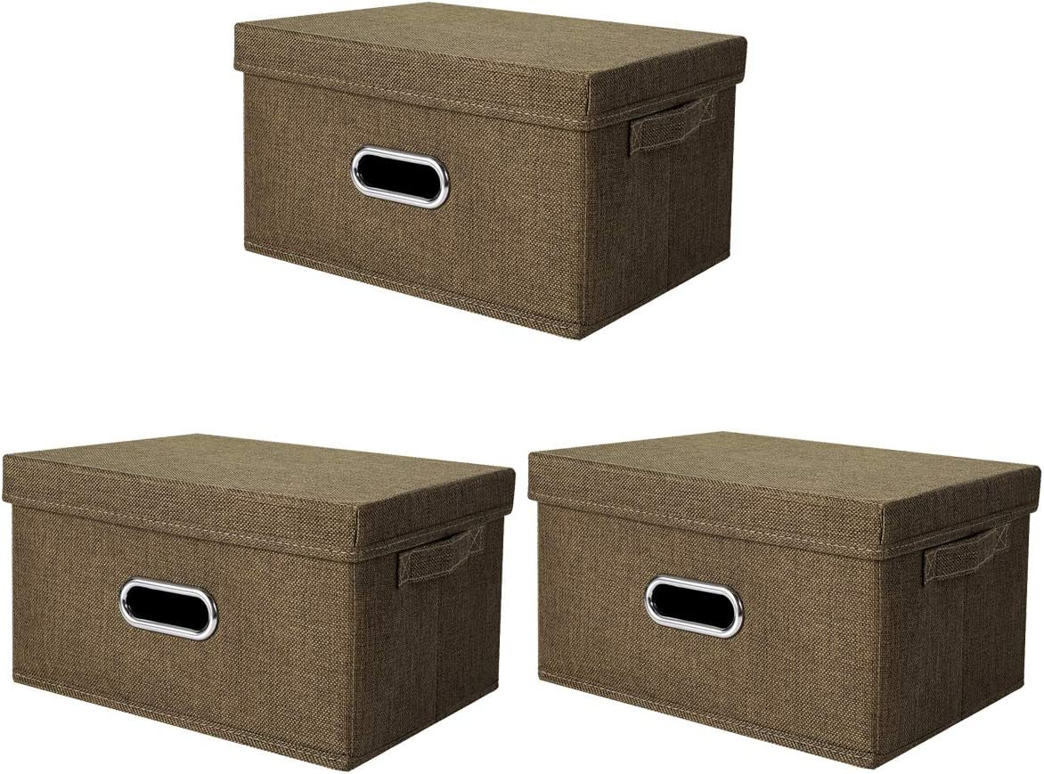 ANMINY 3 PCS Storage Boxes with Handles Removable Lids PP Plastic Board Foldable Lidded Cotton Linen Home Storage Cubes Bins Baskets Closet Clothes Toys Organizer Containers - Coffee, Medium Size