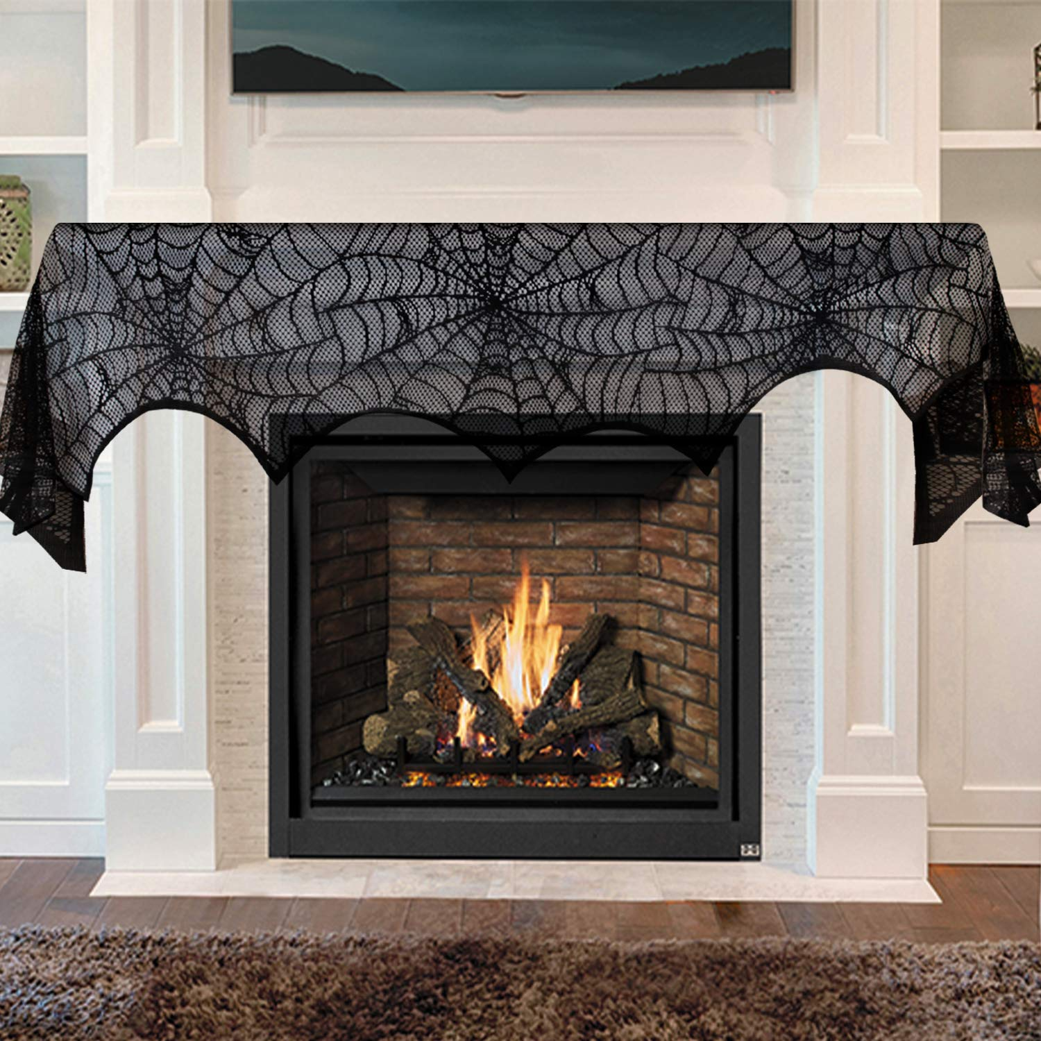 VIGLT Halloween Decorations Indoor, Black Lace Spider Web Fireplace Mantel  Scarf Cover Party Decor
