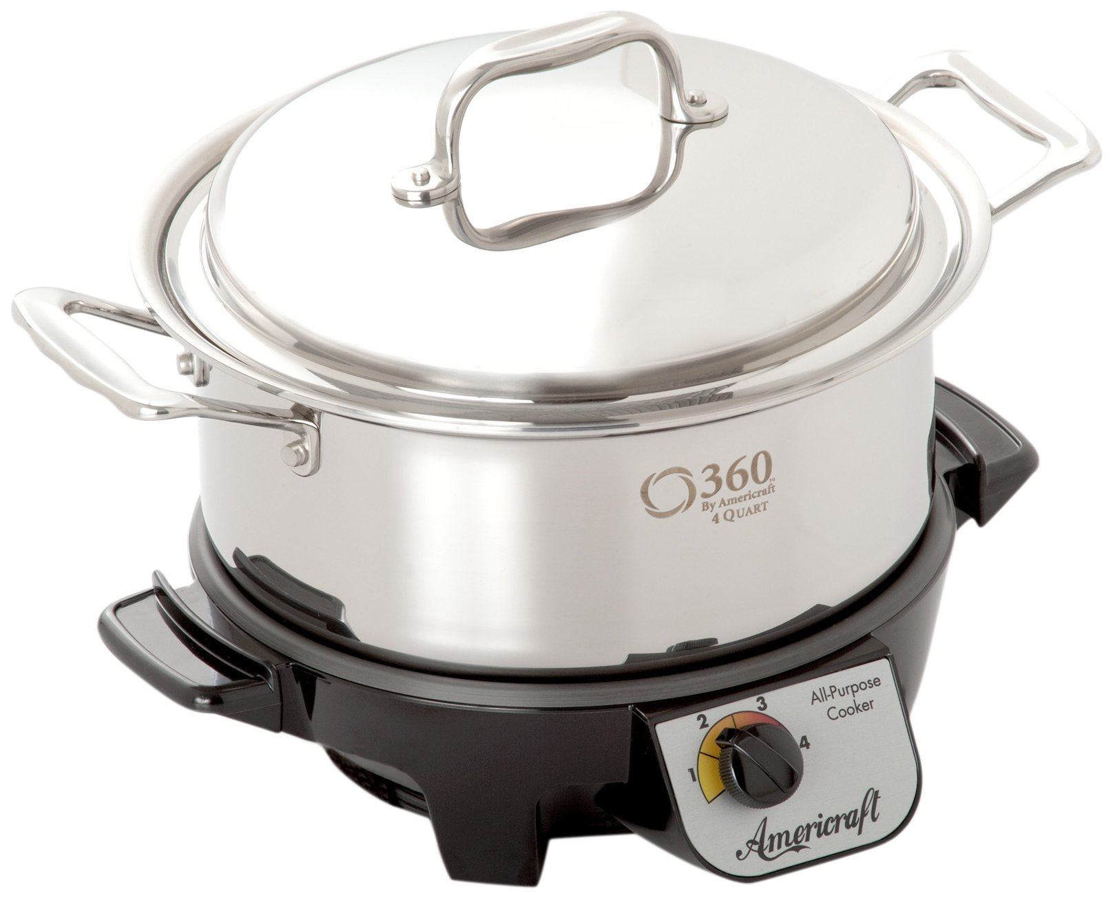360 Cookware Gourmet Slow Cooker and Stainless Steel Stock Pot with Cover, 4 Quart by 360 Cookware