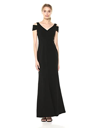 b1cd110318e7c Calvin Klein Women s Cold Shoulder Long Gown with V Neckline Dress at Amazon  Women s Clothing store