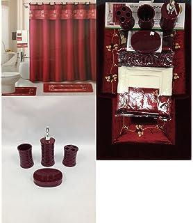 22 Piece Bath Accessory Set Burgundy Red Bath Rug Set + Shower Curtain u0026  Accessories