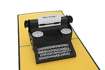 PopLife Typewriter QuotHappy Birthdayquot Message 3D Pop Up Birthday Card