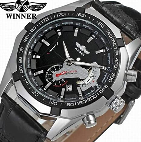 Winner Reloj para Hombre Mecánico automático Esqueleto Dial Correa de Cuero Negocio Reloj de Pulsera con