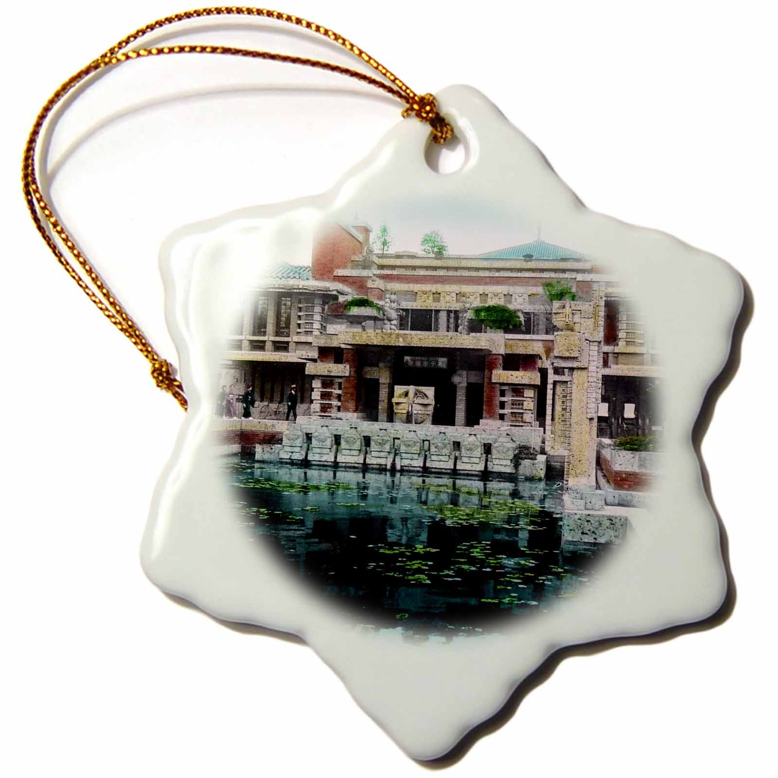 3dRose Frank Lloyd Wrights Imperial Hotel in Old Tokyo Vintage Japan Snowflake Ornament, 3''