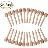 24 Pack Mini Wooden Honey Dipper Stick, Honey Dippers 3 inch with Individually Wrapped Server for Honey Jar Dispense Drizzle Honey and Wedding Party Favors