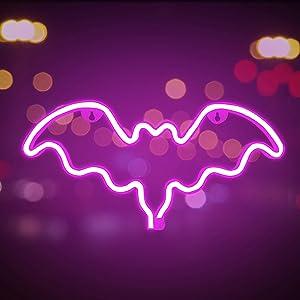 Funpeny Bat Neon Signs, LED Ramadan Festival Pink Bat Neon Lights, Ramadan Decor for Table,Desk,Indoors,Home Bedroom Decorations USB Charging & Battery