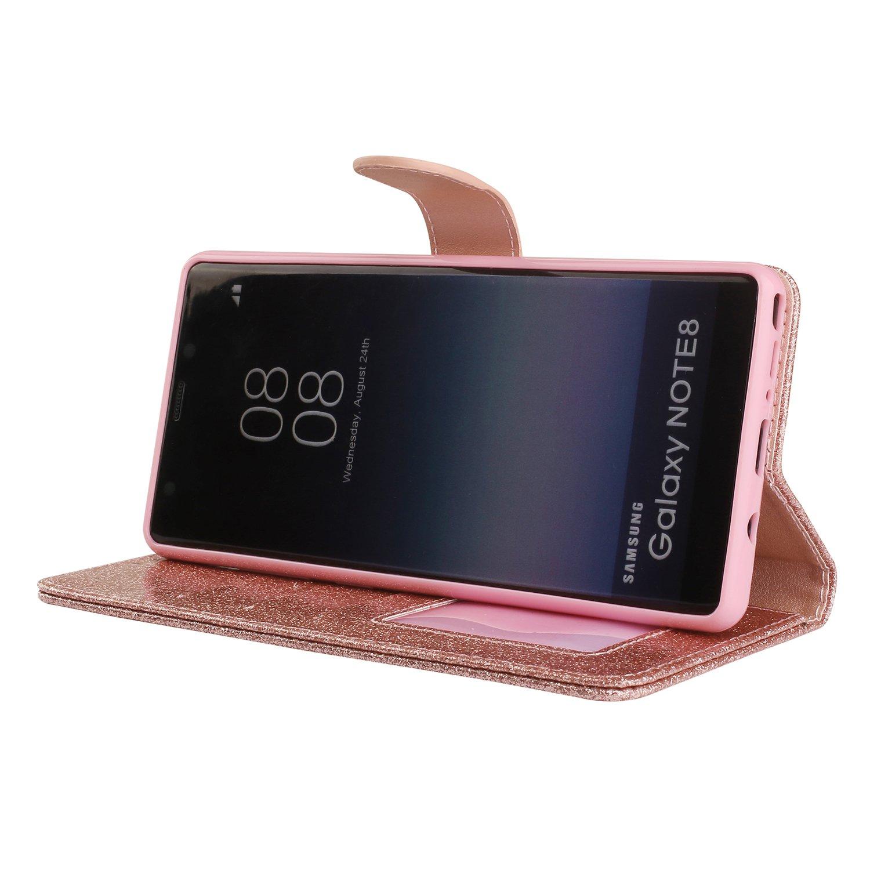 Huphant kompatibel mit Samsung Galaxy NOTE 8 Handyh/ülle Glitzer Strass Leder H/ülle Wallet Flip Schutzh/ülle Tasche mit Samsung Galaxy NOTE 8 Ledertasche Kartenfach Geldklammer St/änder MagnetGold