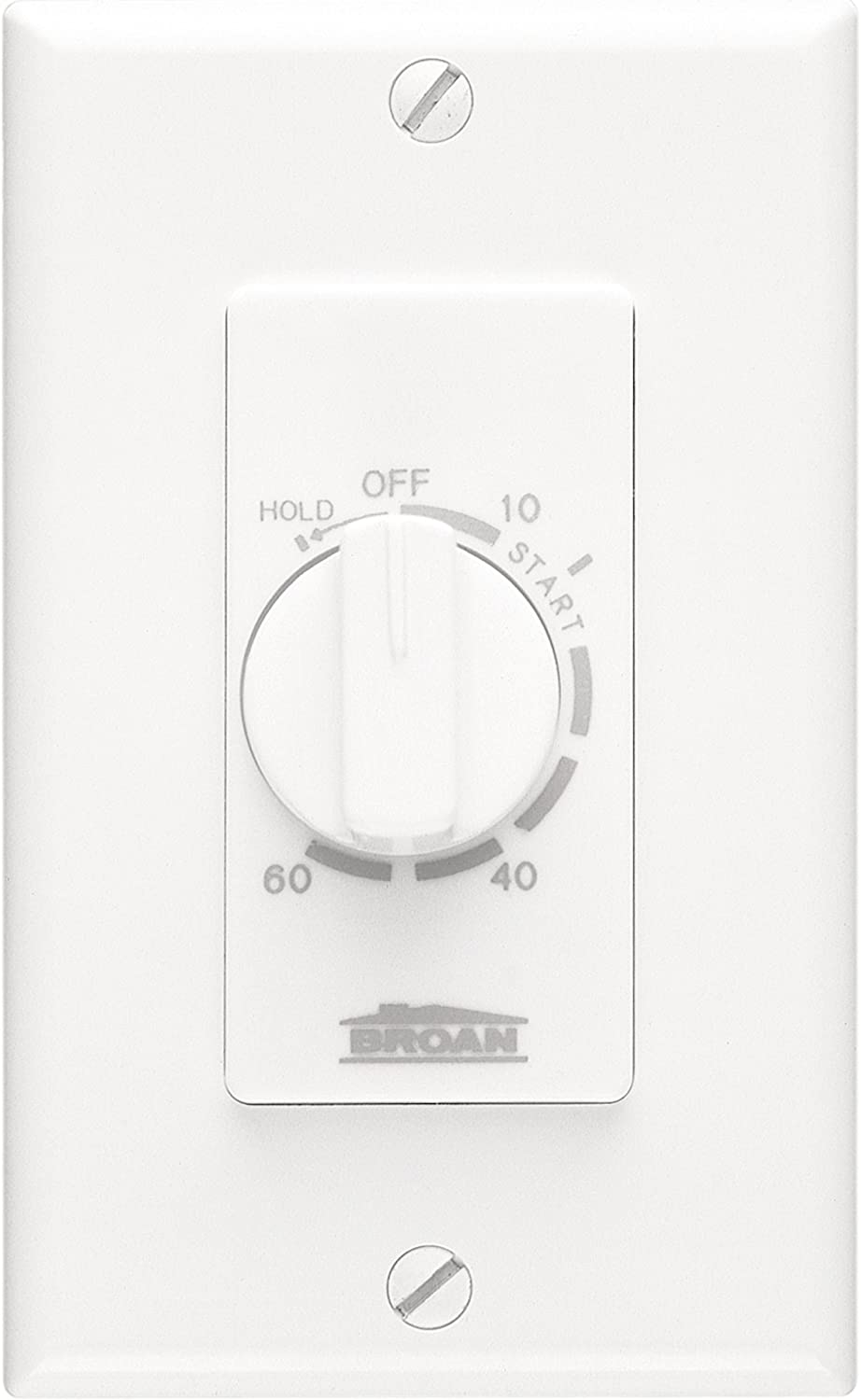 Broan-NuTone P59W 60-Minute Time Control with Continuous-On Feature for Single Gang Opening, White