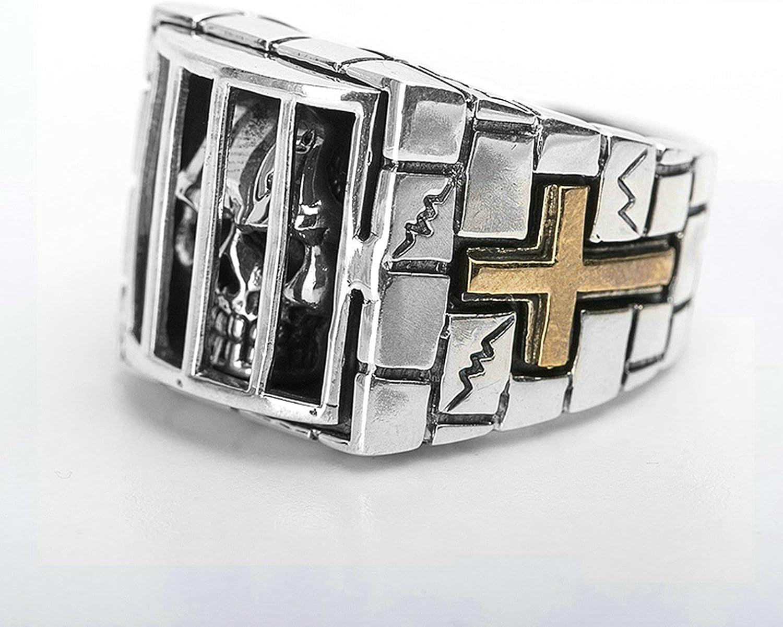 Aeici 925 Silver Band for Men Prisoner Skull Thumb Rings Rock Punk