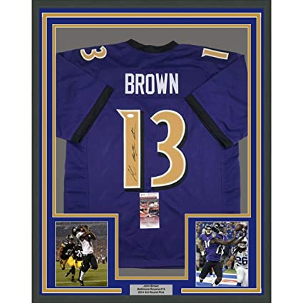 bc86dd93f Image Unavailable. Image not available for. Color  Framed Autographed Signed  John Brown 33x42 Baltimore Color Rush Football Jersey JSA COA